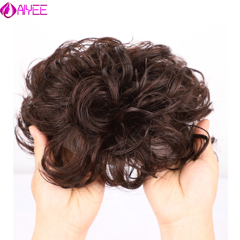 AIYEE Curly Wave Toupee For Women Toupee Replacement Systems Remy Hair Wave Full Lace Women Toupee Hairpiece 100%Human Hair Wig