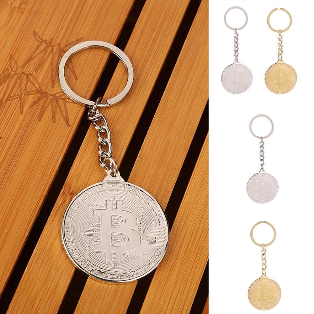 Metallic Commemorativa Bitcoin Portachiavi Appeso Portachiavi Decor Collection Accessorio Dei Monili per Giornata di Presenza di San Valentino
