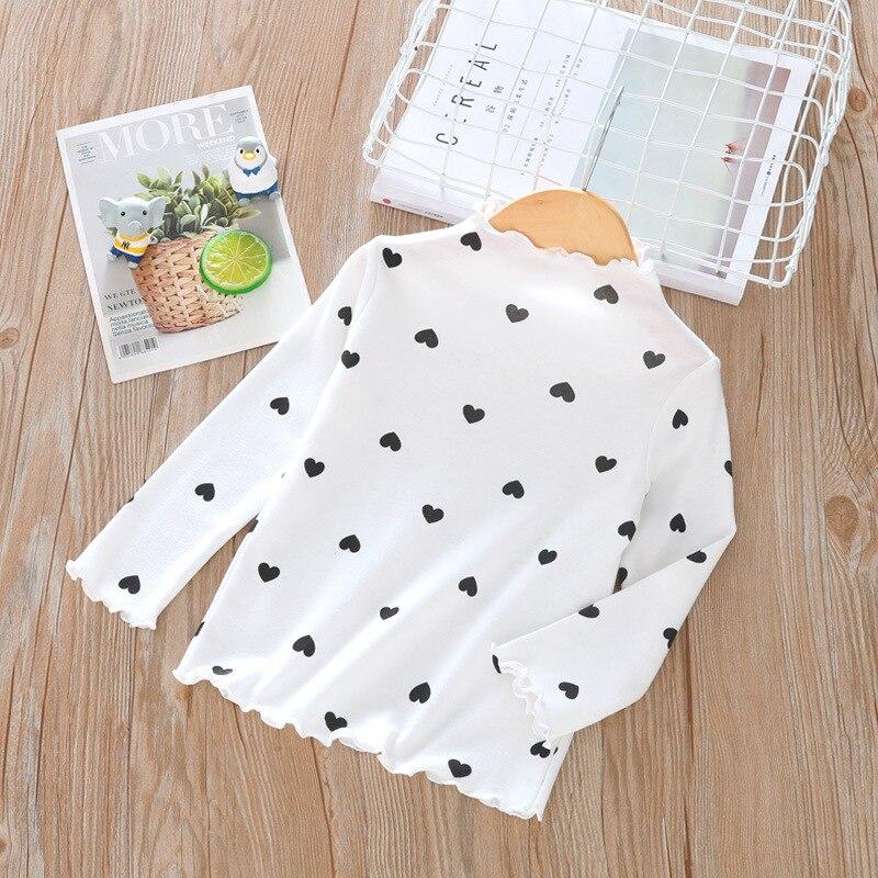 Весенне-осенняя футболка с длинными рукавами для девочек модная детская рубашка в горошек с высоким воротником в европейском и американском стиле - Цвет: Белый
