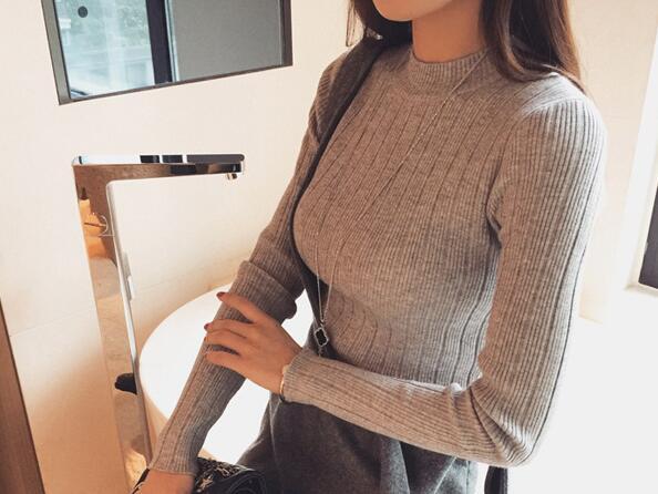 2019 Autumn New Korean Solid Color Joker Crew Neck Slim Fit PulloverThread Knit Basic Women Sweater 12