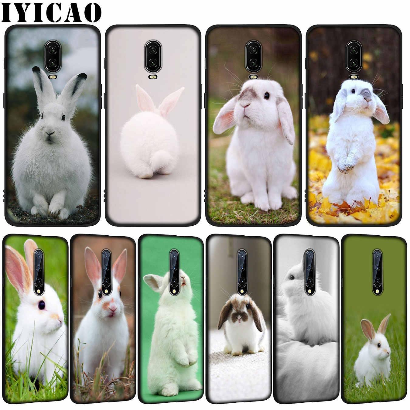 Bonita funda de teléfono de silicona blanca de conejo suave de TPU negro para OnePlus 7T 7 Pro 6 6T 5 5T One Plus 7Pro