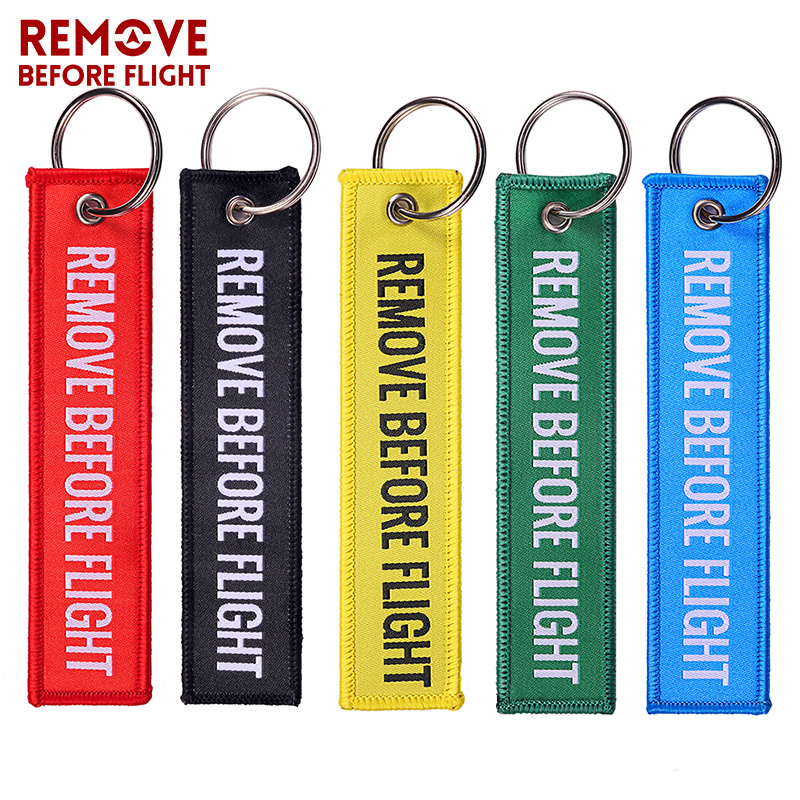 Remove Before Flight Red Embroidery Key Chains Special