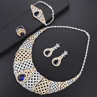 LARRAURI 4pcs African Dubai Blue Crystal Cubic Zirconia CZ Nigerian Jewelry Sets For Women Wedding Bridal Jewelry Sets 2019