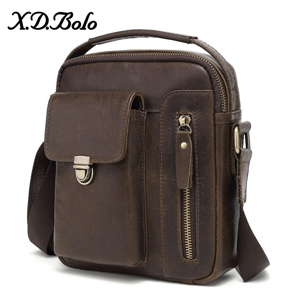 XDBOLO 2019 Genuine Leather Bags Men Flap Messenger Bags Small Travel Dark Brown Men's Bag Crossbody Shoulder Bags For Men