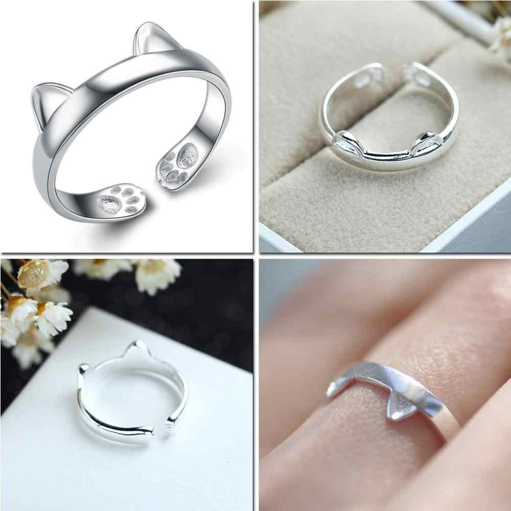 LicLiz 2019 ใหม่ 925 เงินสเตอร์ลิง V รูปร่างแหวนเปิดสำหรับผู้หญิงเรขาคณิตถักแมวแหวนเครื่องประดับ Bijoux LR0313