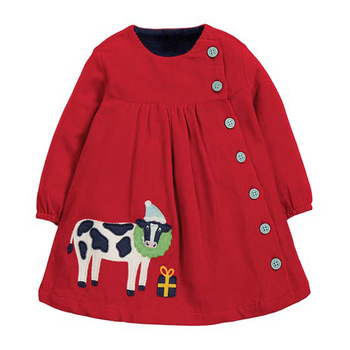 Little maven Girls Dress with Single-breasted 2020 Christmas Dress for Baby Girls Corduroy Cow Girls Wedding Dress Kids Dress 1
