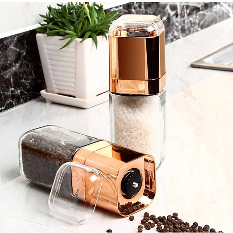 Table Grinder Mills for Salt Pepper Adjustable Coarseness Glass Bottle Ceramic Rotor Kitchen Accessories and Gadgets Rosy Gold