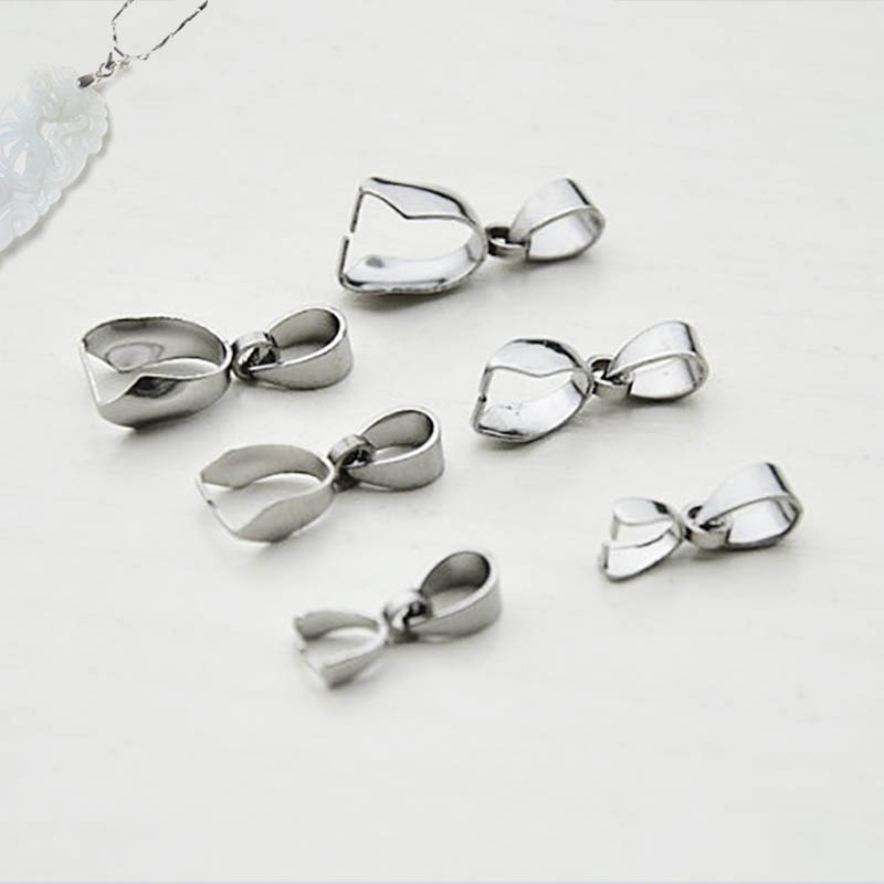 10pcs Stainless Steel Bail Connector Necklace Pendant Clasp 3x15/5x17/9x19mm Pinch Clip Findings Supplier For Diy Jewelry Making