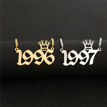 Custom Old English Number Necklace Crown BFF Jewelry Gold Year 1991 1992 1993 1994 1995 1996 1997 1998 1999 2000 Birthday Gift