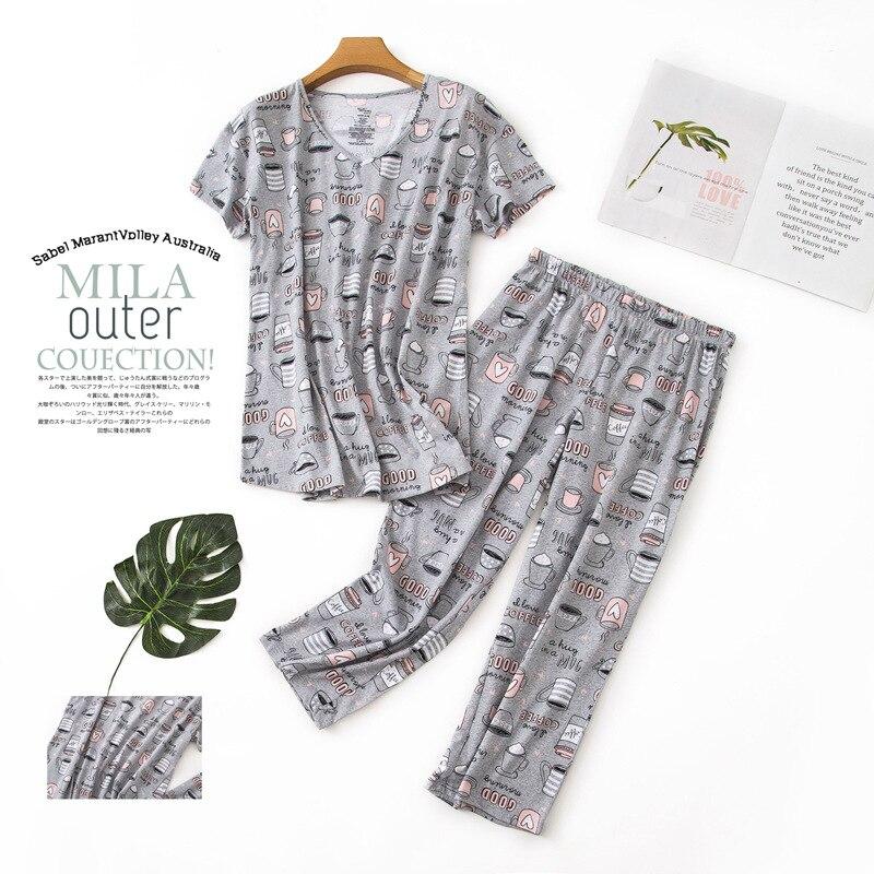 Spring Summer Short Sleeves Capri Nightgown Women 100%Cotton   Pajamas     Set   Loose Casual Cute cartoon Homewear Large Size 3XL