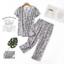 Spring Summer Short Sleeves Capri Nightgown Women 100%Cotton Pajamas Se