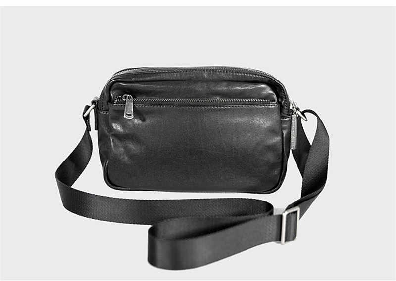 Повседневная мужская повседневная сумка через плечо из натуральной кожи, модная трендовая высококачественная Натуральная Воловья кожа, Подростковая двойная сумка-мессенджер на молнии