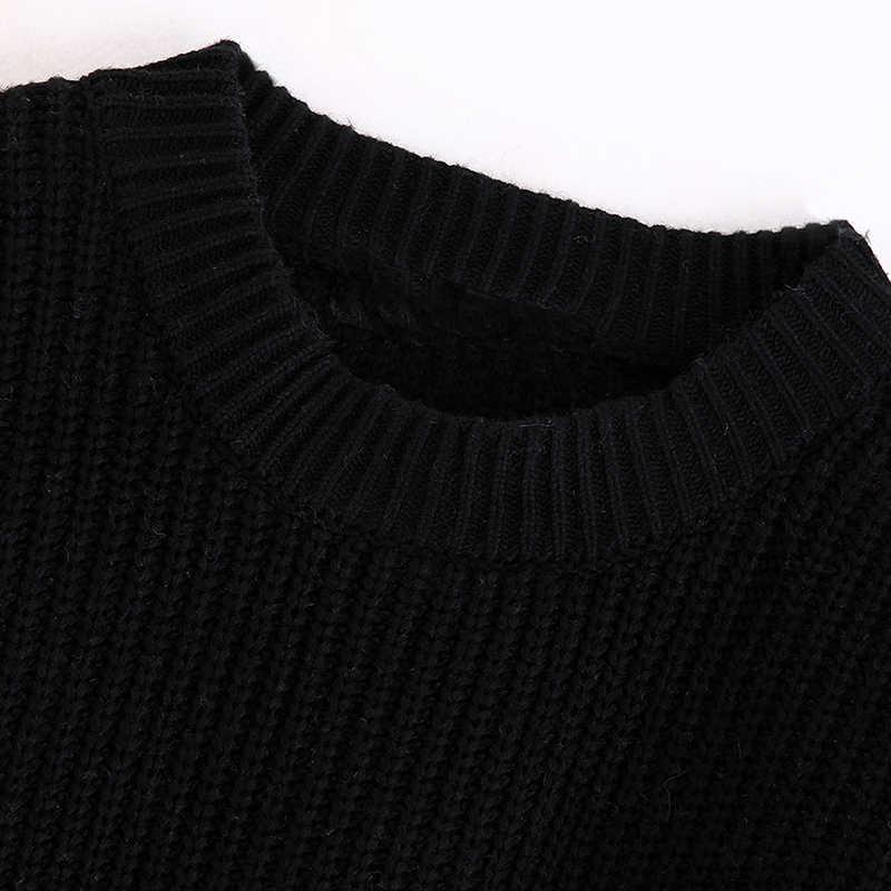 빈티지 세련 된 스트라이프 니트 스웨터 여성 2019 패션 오 넥 긴 소매 패치 워크 숙 녀 풀 오버 세련 된 탑스 당겨 femme