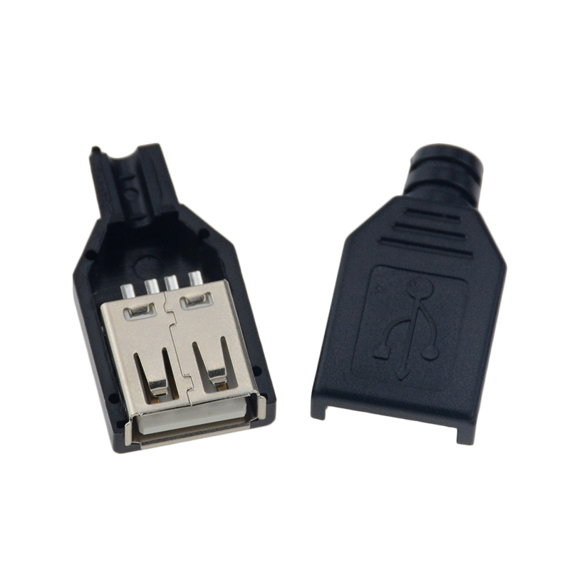 10pcs Type A Male Female USB 4 Pin Plug Socket Connector With Black Plastic Cover Type-A DIY Kits 5
