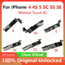 Frete grátis original para iphone 4 4S 5 5c 5S 7p placa mãe fábrica desbloqueado para iphone mainboard com chips completos livre icloud