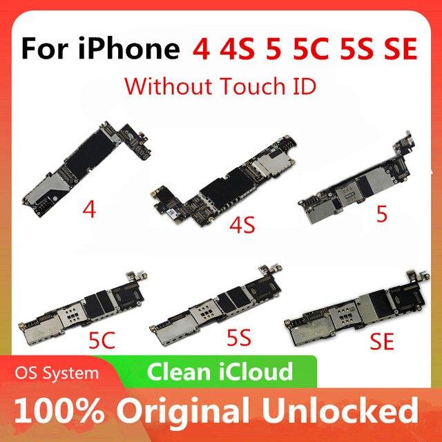 משלוח חינם מקורי עבור iphone 4 4S 5 5C 5S 7P האם מפעל סמארטפון עבור iphone Mainboard עם מלא שבבי משלוח iCloud