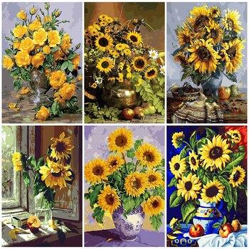 AZQSD malowanie numerami malowanie słonecznika ogród DIY obraz na płótnie ręcznie malowany obraz olejny kwiaty dekoracji wnętrz K468