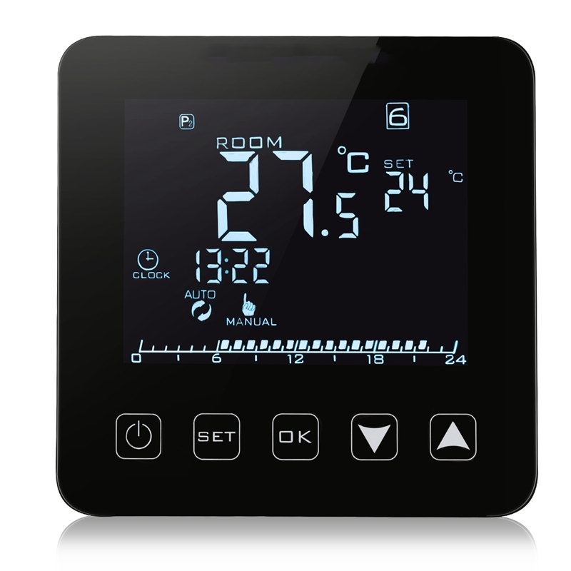 Speaker Control HY08WE-2 Electric Heating Thermostat LCD Display Digital Black With WIFI Function Floor Heating Film Thermometer