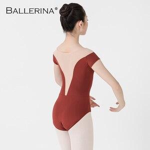 Image 2 - Bailarina ballet leotardo mujeres entrenamiento profesional yoga malla manga corta gimnasia leotardo danza traje Adulto 3582