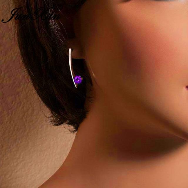 Minimalist Geometric Bar Stud Earrings For Women 925 Silver Color Round Green Red Purple Blue Stone.jpg 640x640 - Minimalist Geometric Bar Stud Earrings For Women 925 Silver Color Round Green Red Purple Blue Stone Crystal Wedding Earrings CZ
