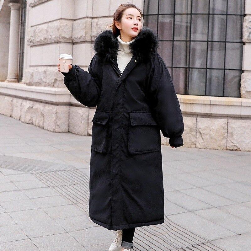 Famosa marca de alta calidad de tela de piel de melocotón sección larga de algodón de mujer sobre la rodilla engrosamiento holgado invierno abajo chaqueta de las mujeres - 3