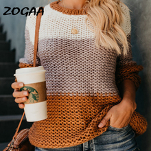 ZOGAA 2019 Women Pullover Female Casual Sweaters Plaid O-neck Long Sleeve Mohair Sweater Autumn and Winter Clothing
