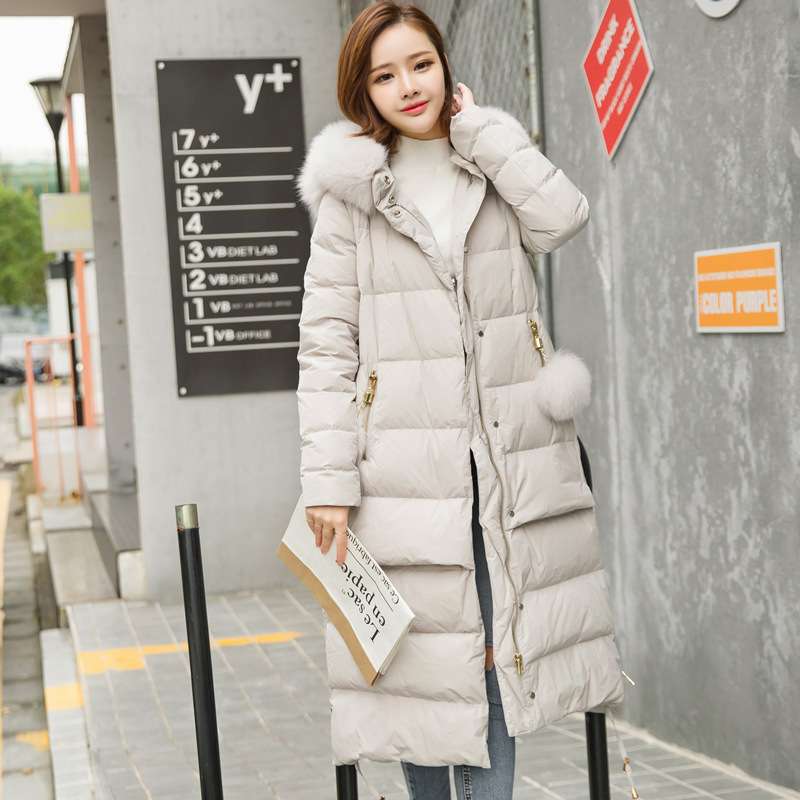 Winter Women's Down Jacket Large Fox Fur Feather Jackte Female Coats Long Thick Hooded Overcoat High Quality LX856