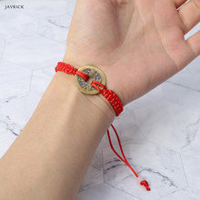 Chinese Style Wealth Good Lucky Charm Copper Coin Pendant Adjustable Red String Bracelet Jewelry For Unisex new 999 24k solid yellow gold pendant lucky cat red red weave string pendant 1g