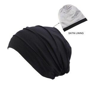 Image 3 - Kobiety miękka pościel satynowa indie kapelusz Stretch czapka do spania muzułmańskie nakrycie głowy z marszczeniami rak kapelusz po chemioterapii czapka szalik Turban chusta na głowę czapka Arab