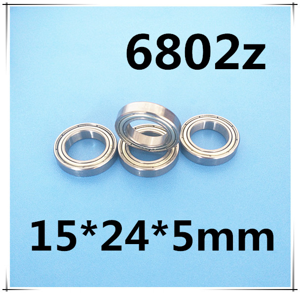 10pcs/lot free shipping 6802 6802Z <font><b>6802ZZ</b></font> 15*24*5 mm chrome steel deep groove bearing 61802 image
