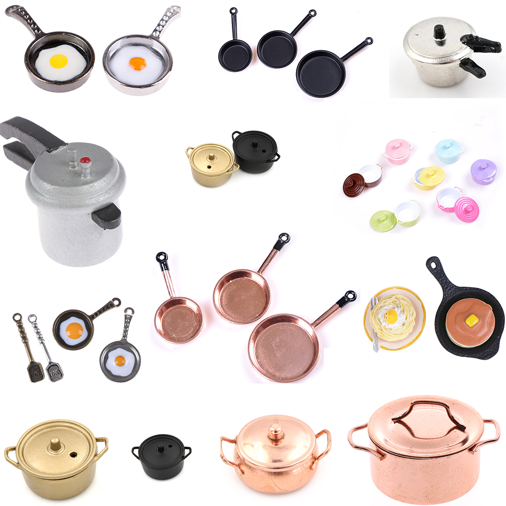 Dollhouse Miniature Kitchen Utensil Cooking Ware Play Kitchen Toy Pot Boiler Frying Pan Copper Pot Lid Doll House Accessories