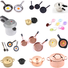 Dollhouse Miniature Kitchen Utensil Cooking Ware Play Toy Pot Boiler Frying Pan Copper Lid Doll House Accessories
