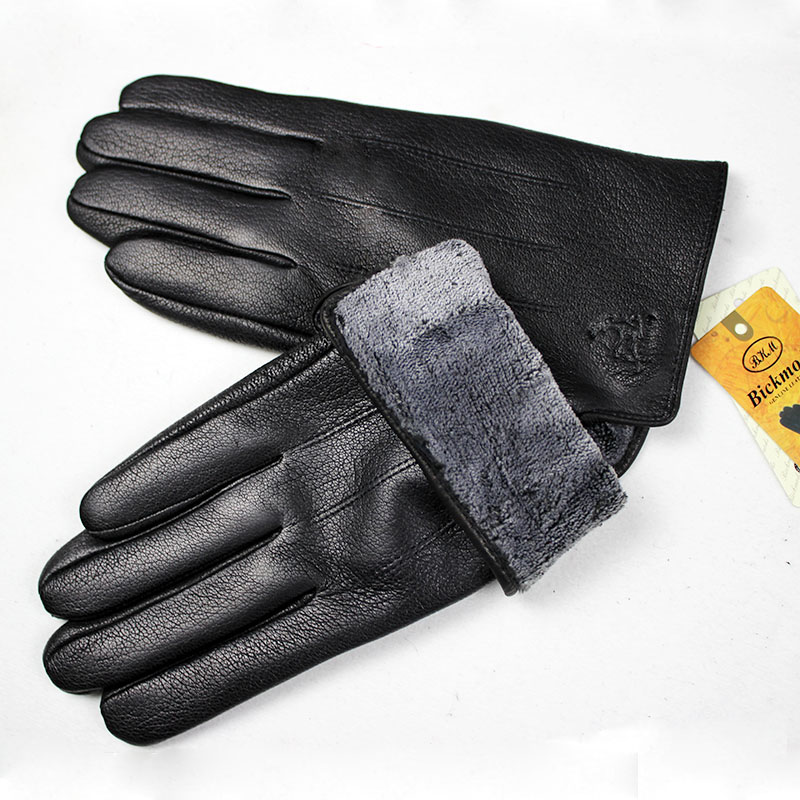 Guantes Leather Gloves Male Deerskin Fashion Stripes Style Wool Lining Spring And Autumn Warm Price Concessions Free Shipping