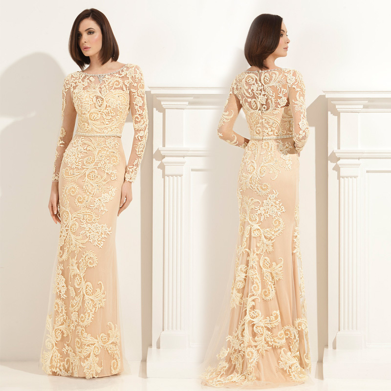 Plus Size Mother of the Bride Dresses High Quality Lace Applique Yellow A-line Long Bride Mother Gown for Weddings(MO-8245)