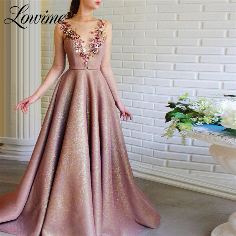 Robe Illusion Back Long Sleeve Prom Dresses Robe De Soiree 2020 High Neck Handmade Flower Evening Party Dress Vestidos De Fiesta