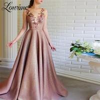 Robe Illusion Back Long Sleeve Prom Dresses Robe De Soiree 2020 High Neck Handmade Flower Evening Party Dress Vestidos De Fiesta