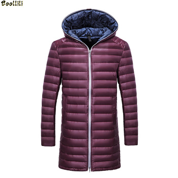 Boolili  New Fashion Autum and Winter Men Down Coats Lightweight Man Down Jackets Solid Hooded Duck Down Long Clothing 3XL