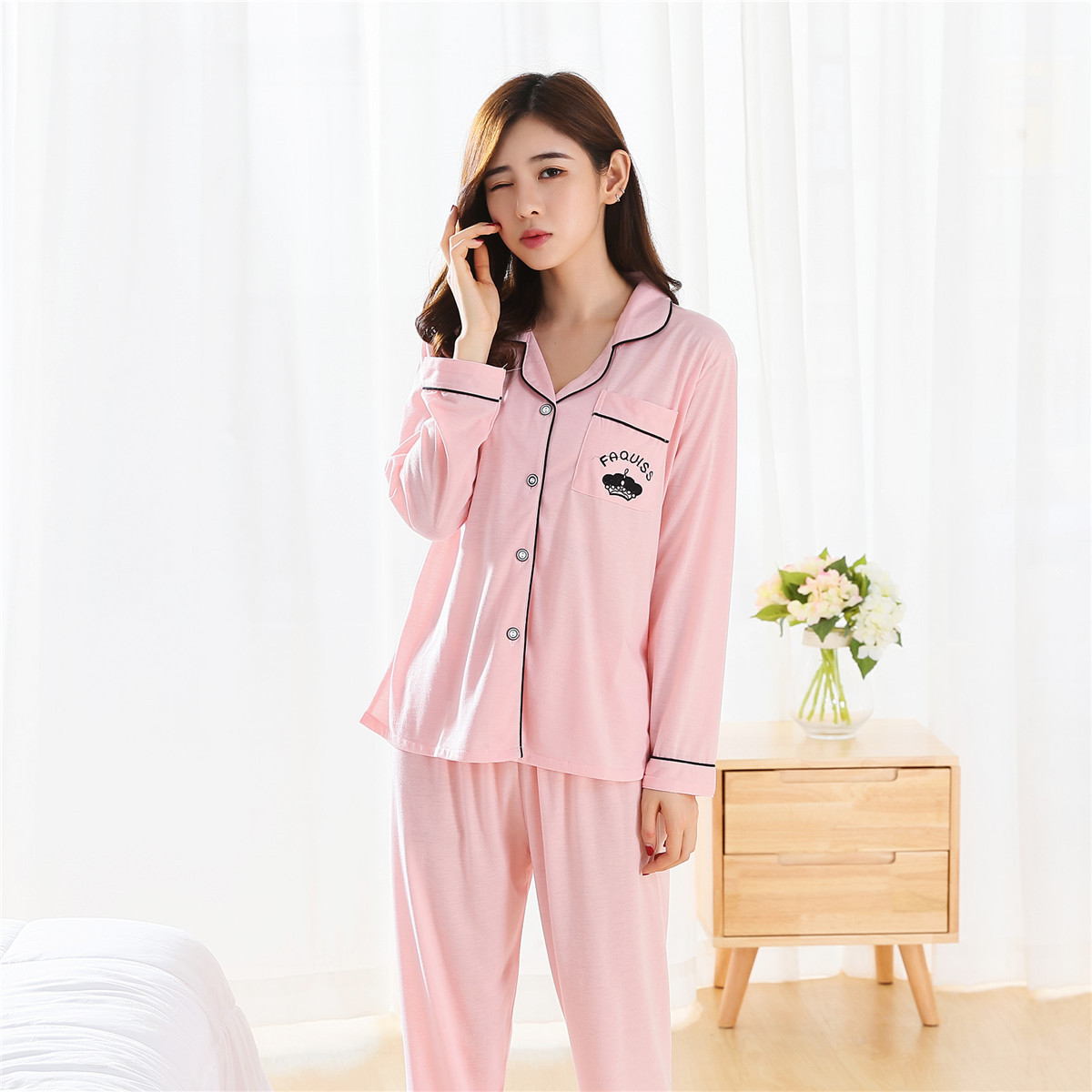 Spring Summer Korean-style Cardigan Button Down Shirt WOMEN'S Pajama Long Sleeve Trousers Knitted Cotton South Korea Pajamas Who