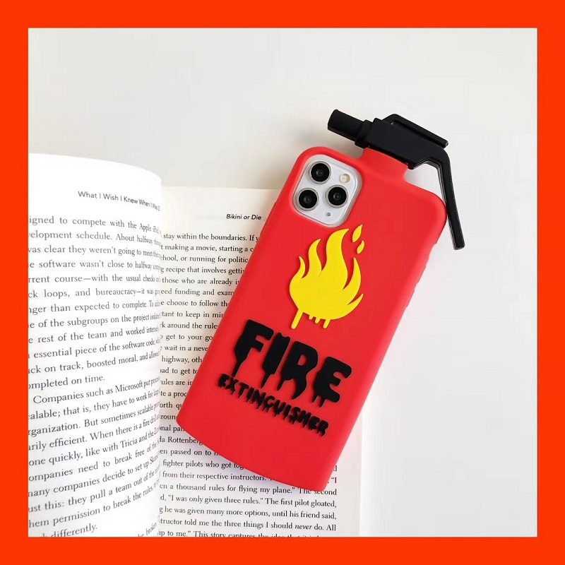 Silicone Smooth Red 3D Fire Extinguisher With Fire Logo Fitted Phone case For iphone6/6S 78 Plus XR XS MAX 11Pro Max SE 2O2O image