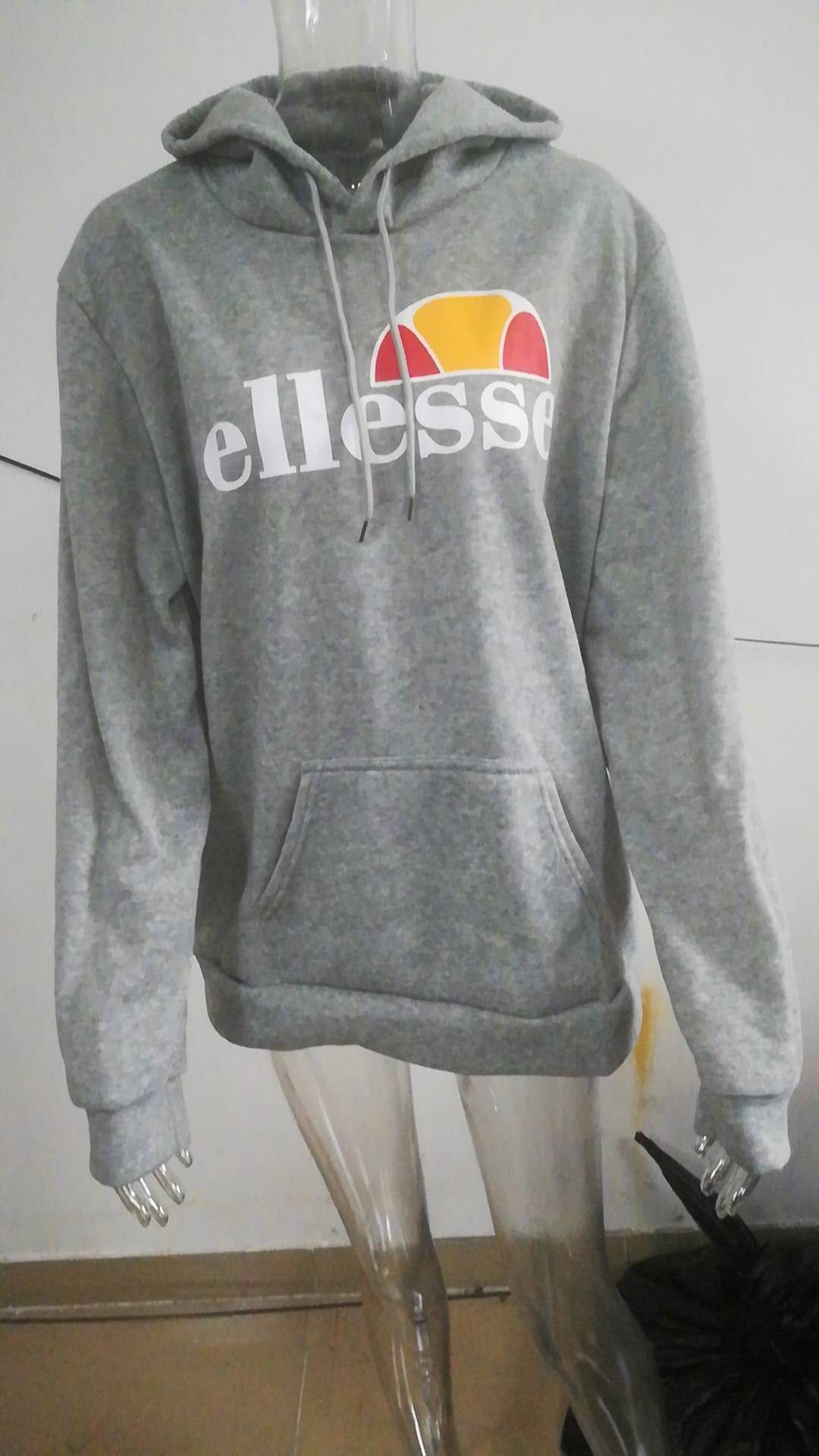 2018 Europe And America Autumn And Winter Ellesse Popular Brand Sports Casual Printed Pullover Hoodie Men And Women Unlined Coat