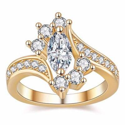 Горячая Распродажа, дизайн, роскошное большое овальное CZ кольцо золотого цвета, обручальное кольцо, хорошее ювелирное изделие для женщин, ювелирных изделий - Цвет основного камня: 1