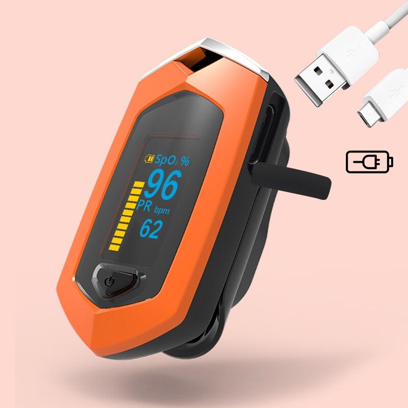 Oxymètre De pouls à doigt BOXYM Pulsioximetro SpO2 PR OLED Rechargeable CE