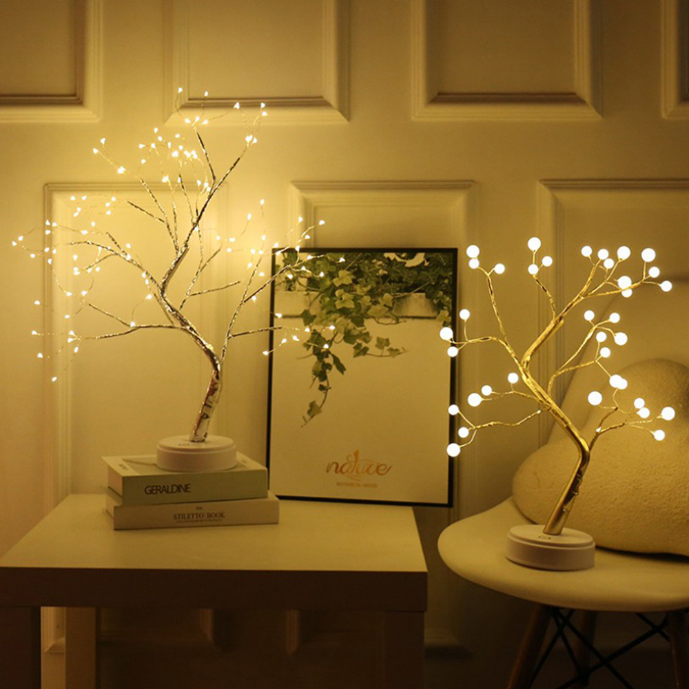 LED USB Copper Wire Christmas Tree Table Night Light Battery Operated Table Lamp For Home Fairy Bedroom Indoor Kids Bar Decorati