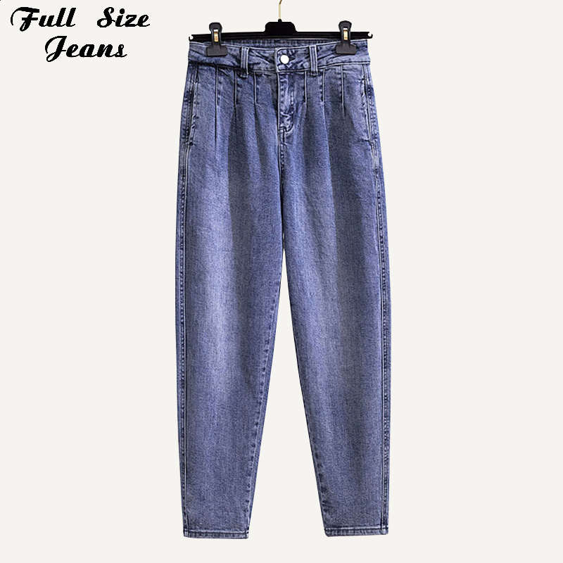 Plus Size Design Pleated Boyfriend Ankle Length Loose Harem Jeans 4Xl Summer Light Blue Basic Capris Vintage Carrot Pants Turnip