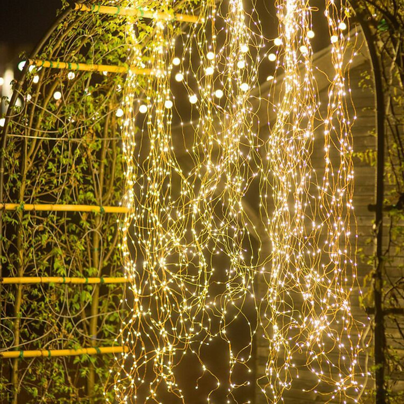 LED Fairy Lights String Outdoor Solar Copper Wire Vines Light Garden Waterproof Decoration Twinkle Luminous Christmas Garland