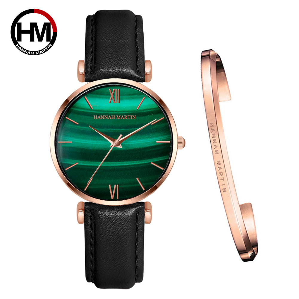 1 Set Bracelet  Quartz Waterproof Peacock Green Stone Pattern Fashion Casual Ultra-thin Stainless Steel Strap Women Watches