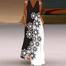 Vestido de verano Vintage con estampado de flores, cuello en V, minimalista