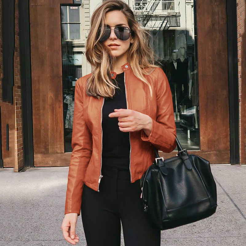 2020 Spring Jackets Women Short PU Leather Clothes Solid Cropped Cardigan Coat Zippers Autumn  Outwear Blouson Feminina