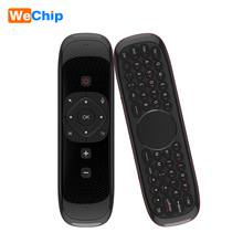 Wechip Air Mouse คีย์บอร์ดไร้สาย W2 2.4G พร้อมด้วยเมาส์ทัชแพดรีโมทคอนโทรลอินฟราเรดสำหรับ Android TV BOX PC โปรเจคเตอร์