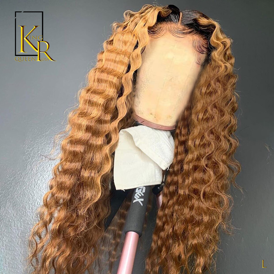 Deep Wave 1B/27 Blonde Ombre Colored 13X4 Lace Front Human Hair Wig 150% With Baby Hair Remy Brazilian Bleached Hair VSBOB